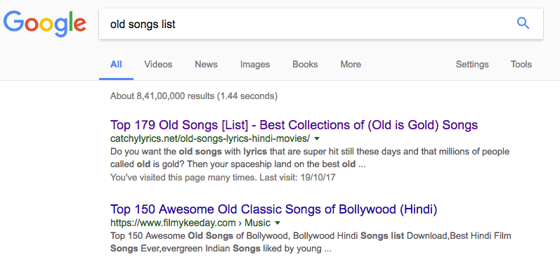 Modifiers Example in Google Search Result image